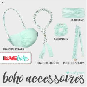 boho accessoires pakket mint green