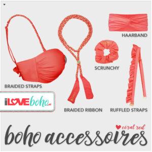 boho accessoires pakket coral red